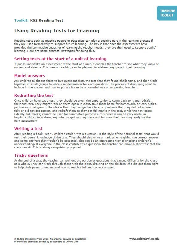 Training Toolkit: KS2 Reading Test | Oxford Owl